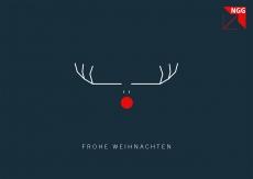 Weihnachtskarte Rentier mit roter Nase