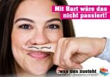 Postkarte Initiative Lohngerechtigkeit Motiv Bart